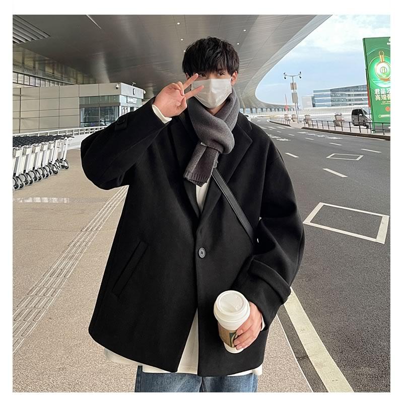 韓国 ファッション ゆったり  オーバーコート ビッグポケット ジャケット テーラードコート アウター 男女 シェア服 メンズ レディース ユニセックス 男女兼用 春 秋冬  冬 衣装 カジュアル 大きいサイズ ペアルック お揃い おそろ リンクコーデ  双子 カップル 親子