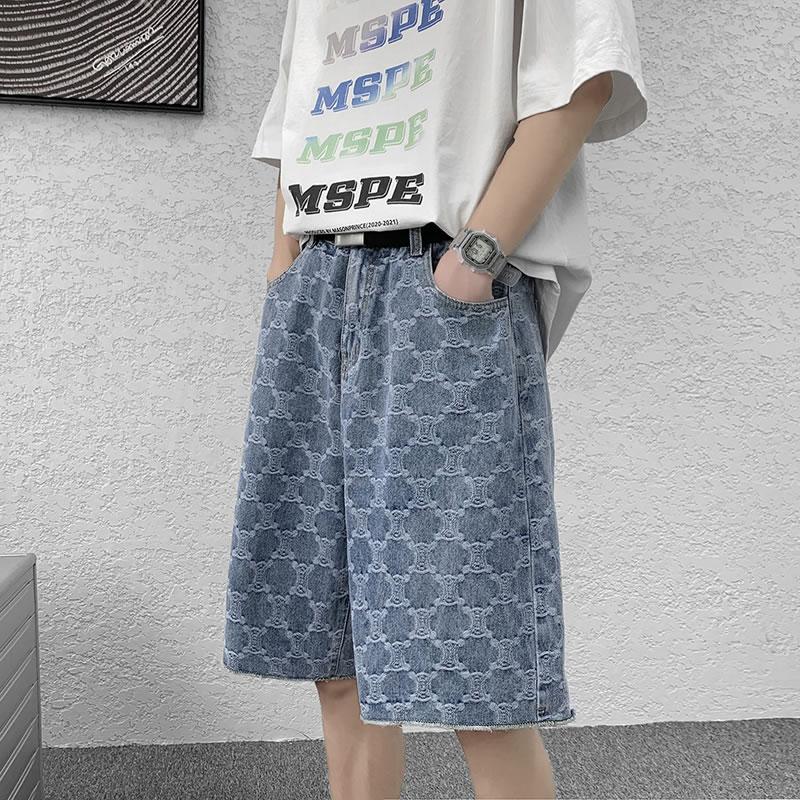 ハーフパンツ  ゆったり 変形チェック 総柄 デニムショーツ  ショートパンツ  ジャガード  短パン  膝丈 ひざ丈 おしゃれ 大きいサイズ メンズファッション ストリート系 スト系  K-POP アイドル