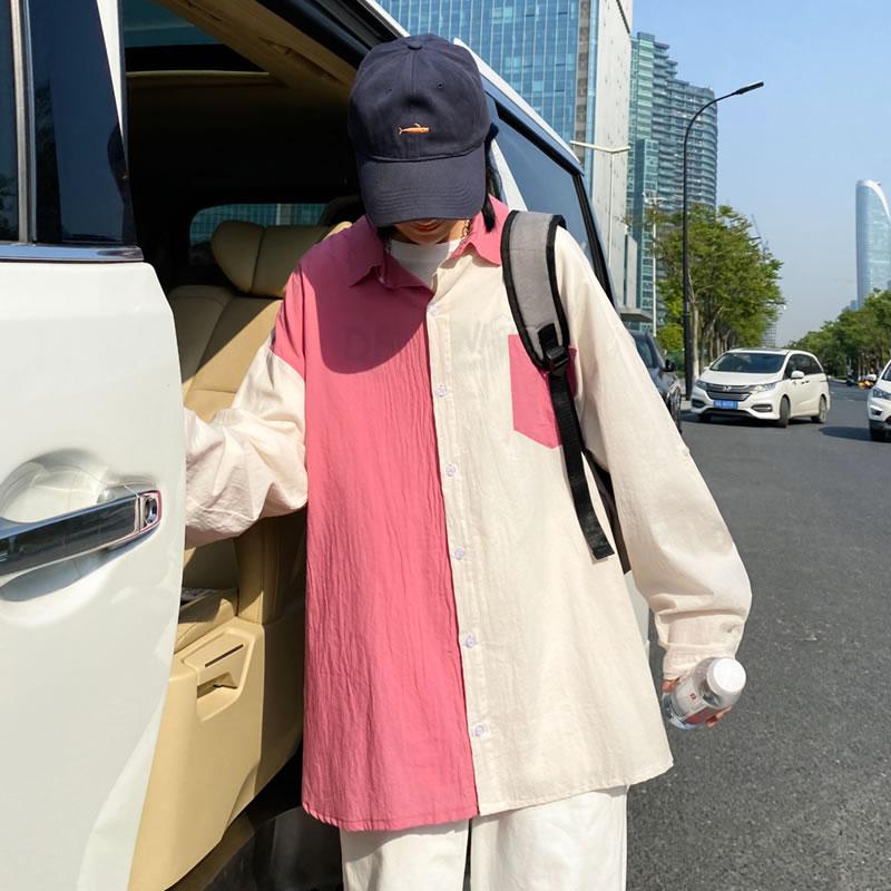 長袖シャツ  韓国 ファッション カジュアルシャツ 切り替え ペールトーン ペールカラー パステルカラー メンズ レディース ユニセックス 男女兼用  ゆったり シャツ  夏 春 秋 衣装 カジュアル 大きいサイズ ペアルック お揃い おそろ リンクコーデ  双子 カップル 親子