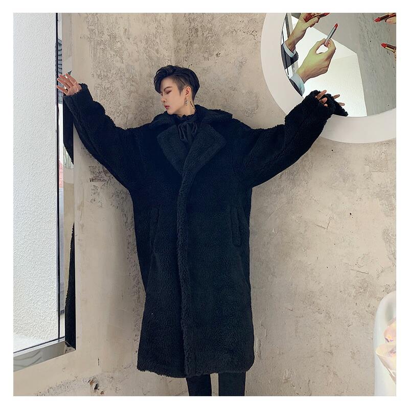 【店内全品送料無料】 韓国 ファッション メンズ ボアコート ロングコート モコモコ トレンチコート オーバーコート チェスターコート ビッグシルエット ゆったり 暖か 暖かい 冬 冬物 長袖 S M L XL LL ストリート ダンス 衣装 モード系 大きいサイズ