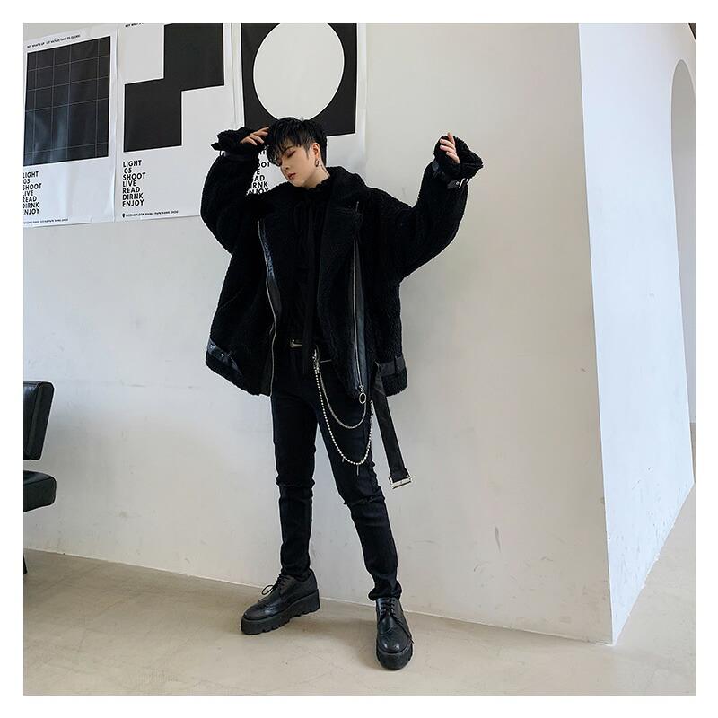【在庫あり】 韓国 ファッション メンズ ボアライダースジャケット ボアジャケット ビッグシルエット ゆったり 長袖 S M L XL LL ブラック 黒 冬 ストリート スト系 B系 ダンス 衣装 モード系 大きいサイズ