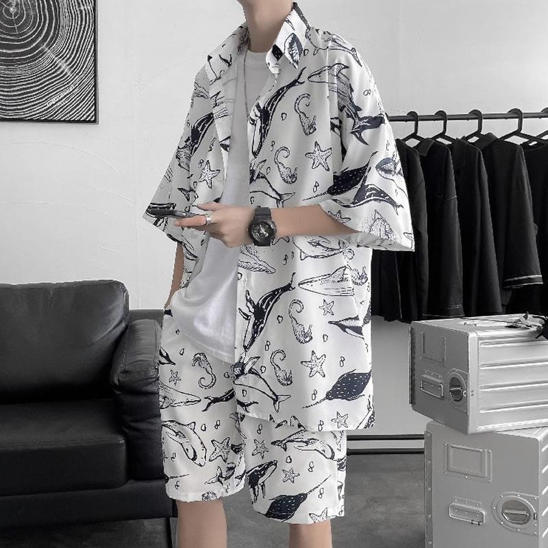 総柄 半袖シャツ  セットアップ  アロハ 海獣 マリン メンズ レディース ユニセックス 男女兼用  ゆったり シャツ  涼しい ショートパンツ上下セット  ハーパン ハーフパンツ ショーツ オラオラ  韓国 ファッション 夏 春 衣装 カジュアル おしゃれ 大きいサイズ オシャレ