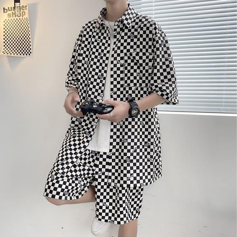 セットアップ メンズ 夏 韓国 ファッション  チェッカーフラッグ柄 総柄 半袖シャツ  フラッグチェッカー レディース ユニセックス 男女兼用  ゆったり シャツ ショートパンツ上下セット  ハーパン ハーフパンツ ショーツ オラオラ  夏 春 衣装 カジュアル 大きいサイズ