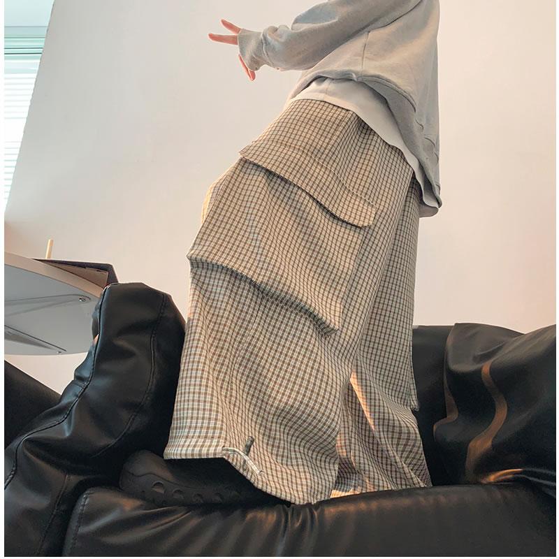 ワイドパンツ リラックスパンツ  チェック柄 カーゴパンツ 激太 太め 裾 絞り しぼり ボトムス 個性 夏 秋 春 モード  メンズファッション カジュアル トレンド メンズ レディース ユニセックス 大きいサイズ