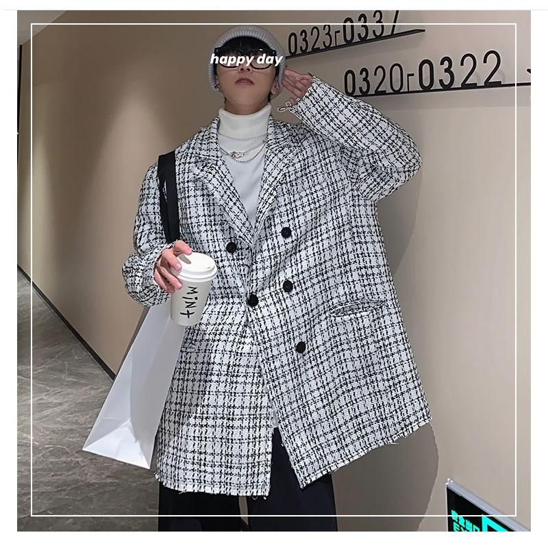 Pコート 韓国 ファッション ゆったり チェック柄 ツイード ダブルボタン テーラード  オーバーコート アウター 男女 シェア服 メンズ レディース ユニセックス 男女兼用  春 秋 冬 衣装 カジュアル 大きいサイズ ペアルック お揃い おそろ リンクコーデ  双子 カップル 親子