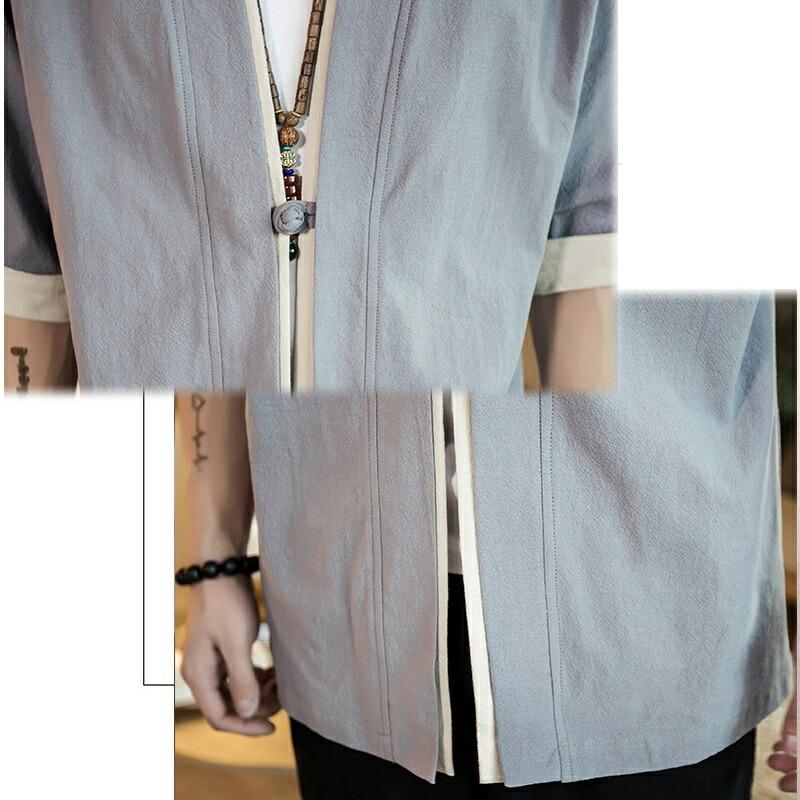 【店内全品送料無料】チャイナカーディガン 五分袖 5分 さらっと羽織れる ハーフスリーブ 半纏 メンズ メンズファッション ストリート系 カジュアル 春 夏 個性 和風 中華 エスニック