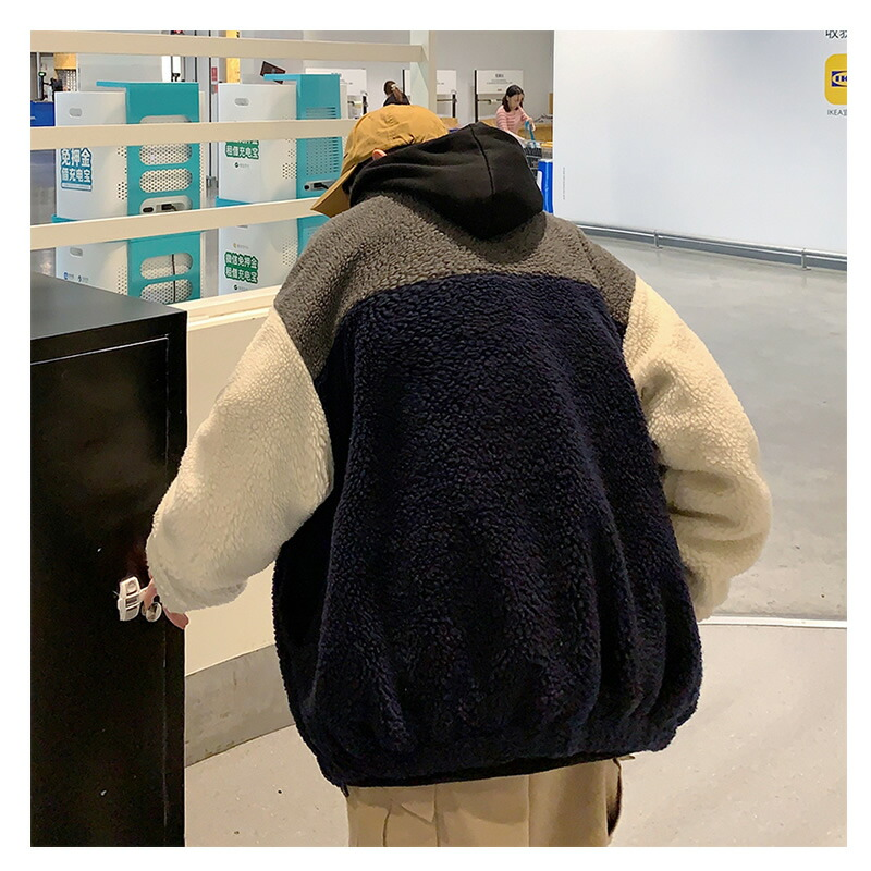 ボアジャケット ビッグシルエット ファージャケット フリースジャケット モコモコ 切り替え 韓国 ファッション メンズ ゆったり 長袖 ロングスリーブ メンズ ストリート カジュアル 大きいサイズ B系 スト系 ストリートファッション