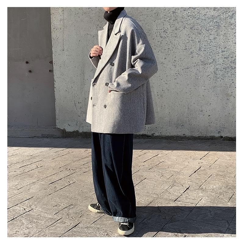 Pコート 韓国 ファッション ゆったり コーデュロイ コート ジャケット  オーバーコート アウター 男女 シェア服 メンズ レディース ユニセックス 男女兼用  春 秋 冬 衣装 カジュアル 大きいサイズ ペアルック お揃い おそろ リンクコーデ  双子 カップル 親子