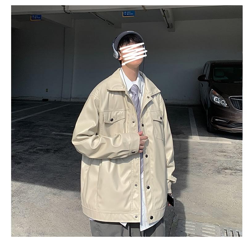 PUレザージャケット 韓国 ファッション ゆったり フェイク レザー カラーレザー アウター 男女 シェア服 メンズ レディース ユニセックス 男女兼用  春 秋 冬 衣装 カジュアル 大きいサイズ ペアルック お揃い おそろ リンクコーデ  双子 カップル 親子