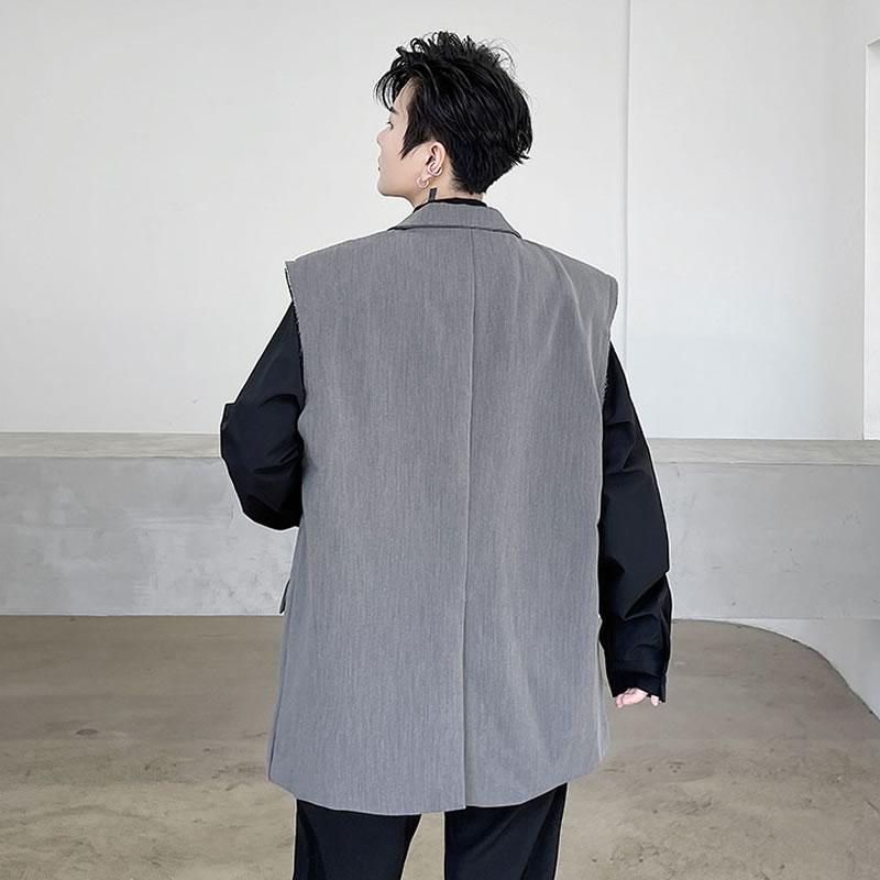 ジレ ベスト  韓国 ファッション ゆったり テイラードベスト チョッキ スーツ アウター 男女 シェア服 メンズ レディース ユニセックス 男女兼用  春 秋 冬 衣装 カジュアル 大きいサイズ ペアルック お揃い おそろ リンクコーデ  双子 カップル 親子