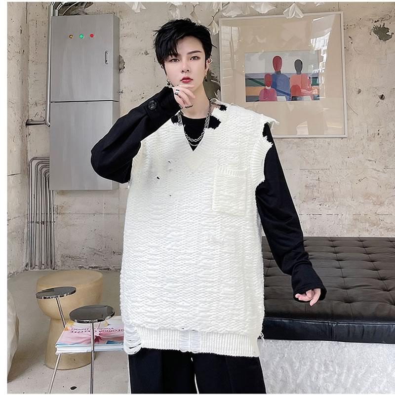 ニットベスト  韓国 ファッション ゆったり 破れ加工 防寒  レイヤード 重ね着 アウター 男女 シェア服 メンズ レディース ユニセックス 男女兼用  春 秋 冬 衣装 カジュアル 大きいサイズ ペアルック お揃い おそろ リンクコーデ  双子 カップル 親子