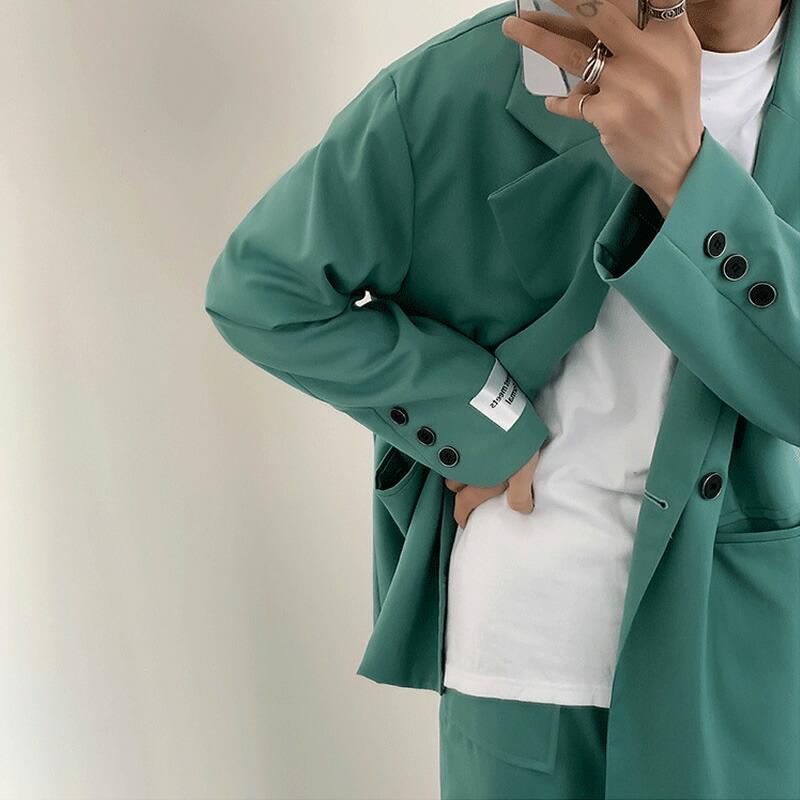 セットアップ メンズ ゆったり 長袖 カジュアルスーツ 上下セット テーラード 韓国 ファッション 秋 冬 春 衣装 モード系 パーティー カジュアル おしゃれ 大きいサイズ 結婚式 オシャレ  成人式 デザインスーツ 2ピース パーティー 二次会 モード系 韓国系  K-POP アイドル