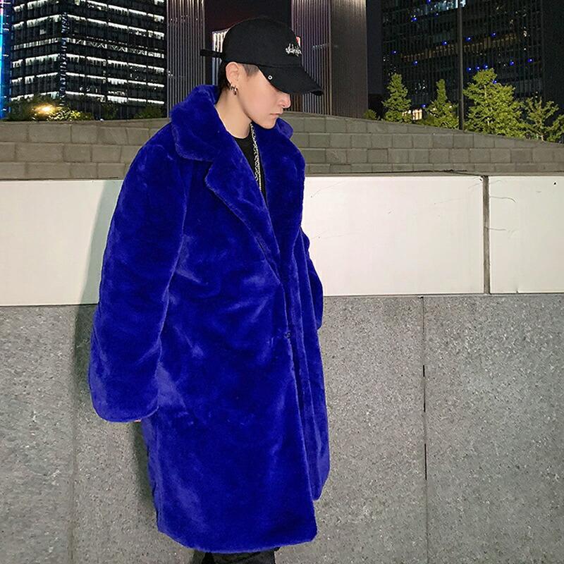 【在庫あり】 ボアコート メンズ ボア コート ブルー フリース チェスターコート ボアジャン ロングコート 韓国 ファッション ボアジャケット モコモコ アウター ビッグシルエット ゆったり 冬 冬物 長袖  M L XL LL 2XL モード系 V系 大きいサイズ