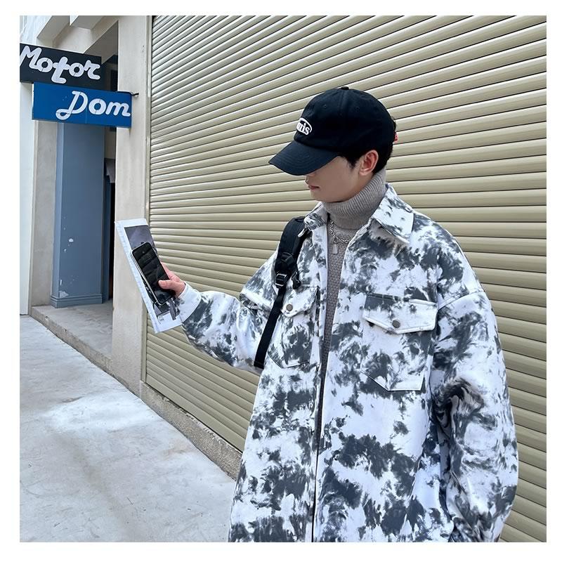 タイダイ柄 ジャケット 韓国 ファッション ゆったり ボタンダウン ブルゾン アウター 男女 シェア服 メンズ レディース ユニセックス 男女兼用  春 秋 冬 衣装 カジュアル 大きいサイズ ペアルック お揃い おそろ リンクコーデ  双子 カップル 親子