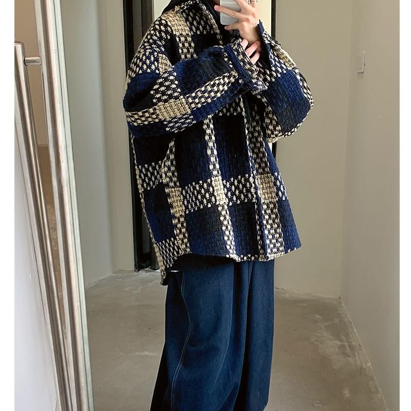 チェック柄 ジャケット 韓国 ファッション ゆったり ボタンダウン ブルゾン アウター 男女 シェア服 メンズ レディース ユニセックス 男女兼用  春 秋 冬 衣装 カジュアル 大きいサイズ ペアルック お揃い おそろ リンクコーデ  双子 カップル 親子