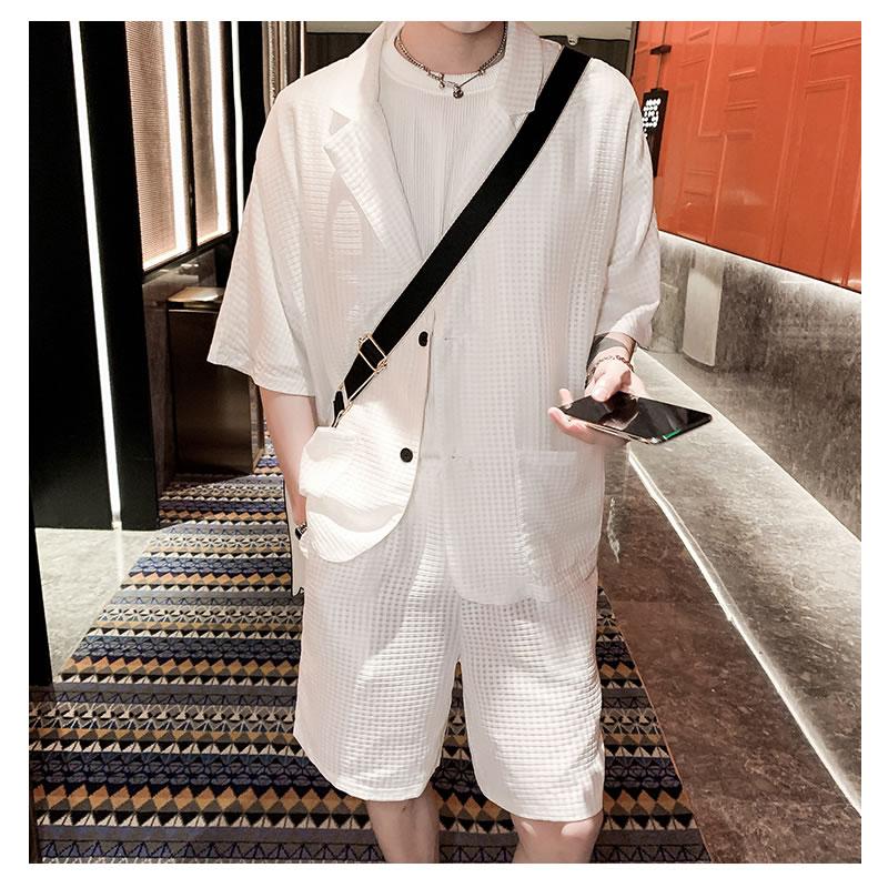 セットアップ メンズ 夏 韓国 ファッション  薄手 通気性 サマー ゆったり 半袖 涼しい カジュアルスーツ 透け感 上下セット テーラード 夏 春 衣装 カジュアル おしゃれ 大きいサイズ 結婚式 オシャレ  成人式 デザインスーツ 2ピース パーティー 二次会 K-POP アイドル