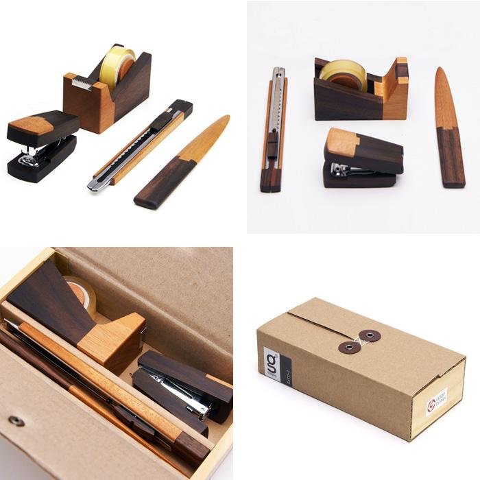ステーショナリー4点セット seto-2 DS-02 ペーパーナイフ カッター ホッチキス テープカッター magno マグノ 木製 天然木