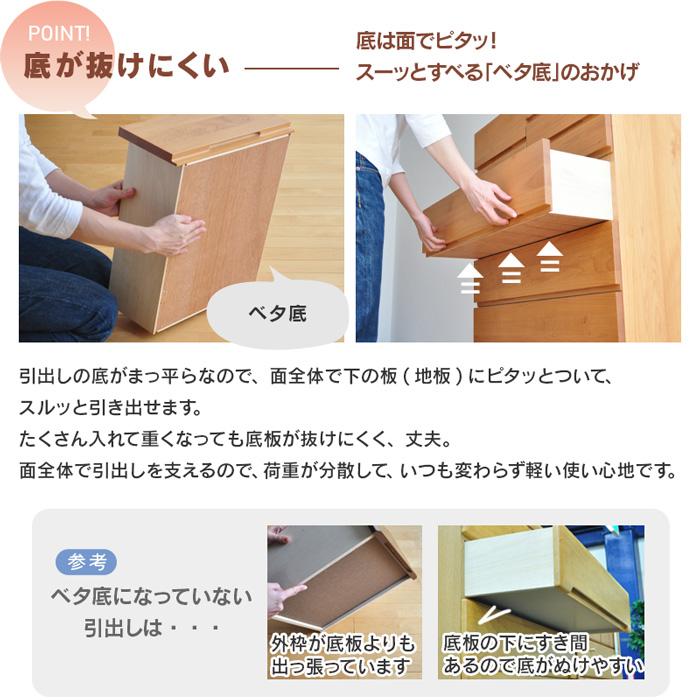 アルダー材のハイチェスト Mori 80-6 80cm幅6段【開梱設置便】