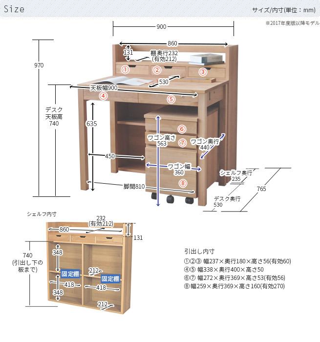 杉工場 90cm幅 アルダーのシンプルデスク セット LG90-KSW (LGY90デスク+Kukka90シェルフ+Kukkaワゴン)