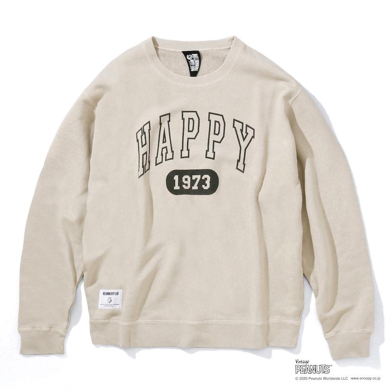 HAPPY 1973 OVERDYED CREWNECK SWEATSHIRT_ BILLIONAIRE BOYS CLUB × PEANUTS