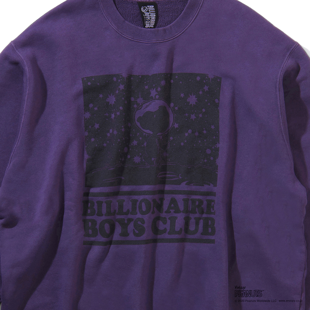 STARFIELD OVERDYED CREWNECK SWEATSHIRT_ BILLIONAIRE BOYS CLUB × PEANUTS