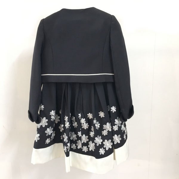 petit main プティマイン 子供服 21春 コサージュつき花刺しゅうワンピース×ジャケットセット pm9611604