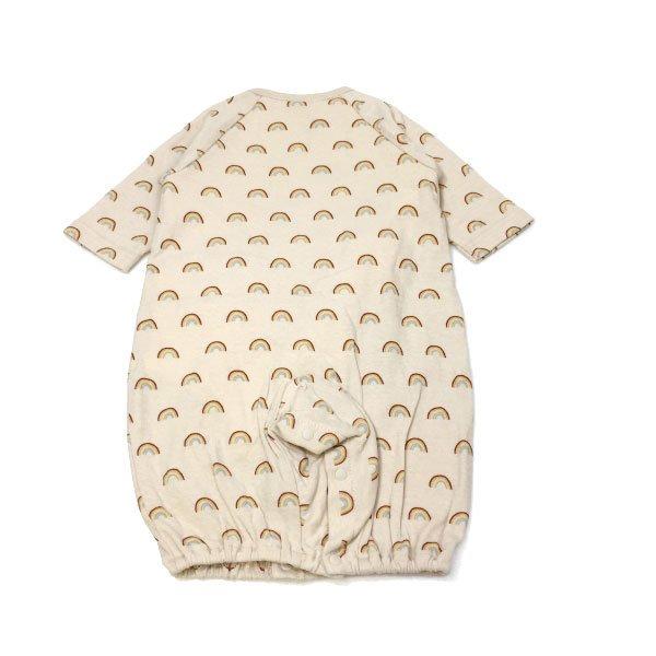 petit main プティマイン 子供服 21春 オーガニックコットン 帽子つき肌着ドッキング総柄2WAYオール pm9611520