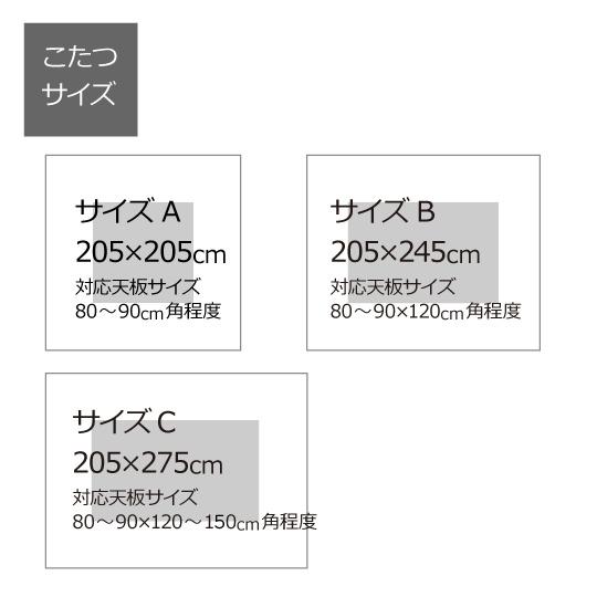 防ダニこたつ掛け布団(アルファイン×ダクロン(R) FRESH 7穴 中わた)長方形  205×275cm