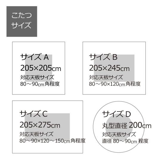 洗えるこたつ掛け布団  (ダクロン(R) FRESH 7穴 中わた)長方形205×245cm