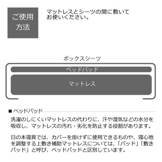 防ダニベッドパッド (アルファイン×ダクロン(R) FRESH 4穴 中わた) ワイドダブル