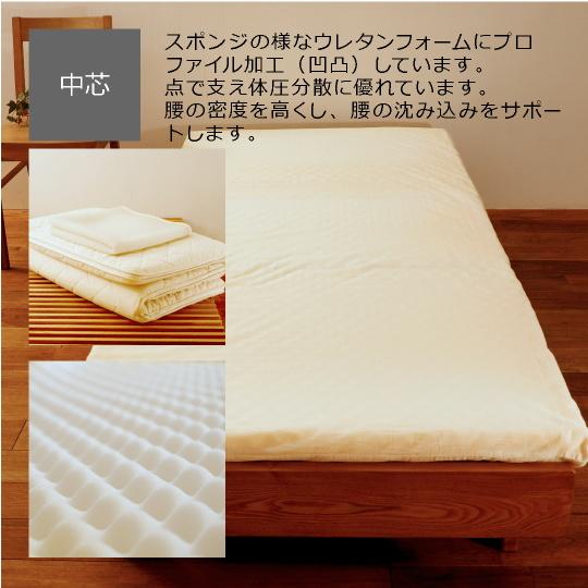 洗える敷き布団(カセット式)+ハニカムメッシュパッド【ウールフィーユ×プロファイルウレタン】 シングル