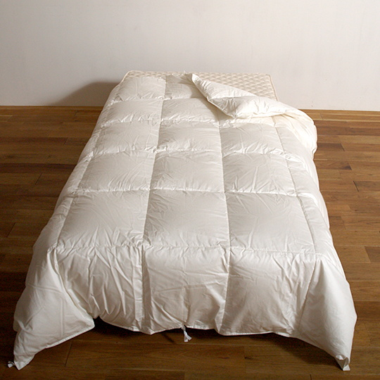 ハンガリーホワイトマザーグースダウン93%×100サテン羽毛布団・肌掛け ダブル