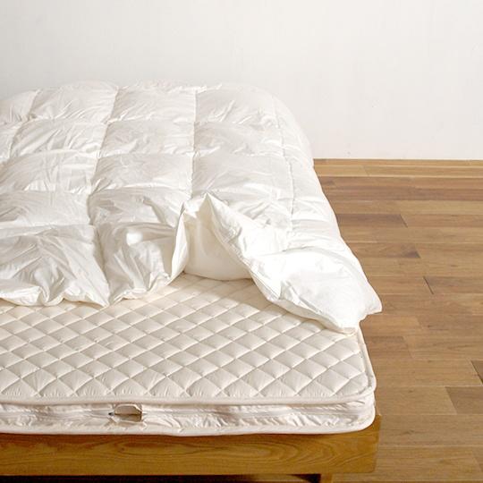 ハンガリーホワイトグースダウン93%×100サテン羽毛布団・肌掛け クイーン