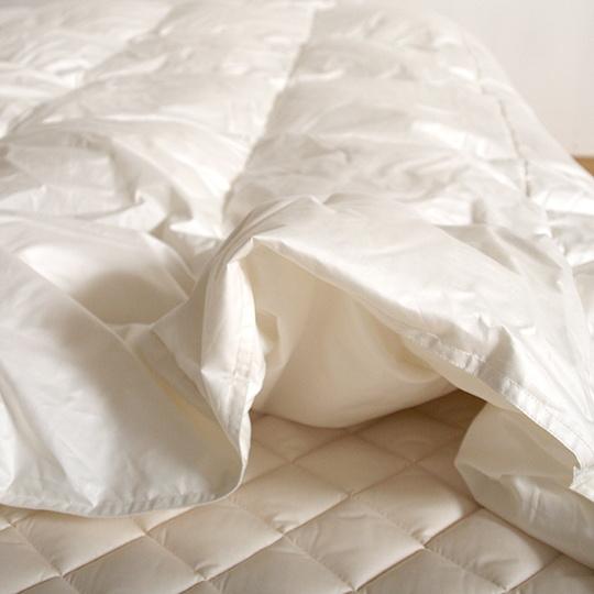 ハンガリーホワイトグースダウン93%×100サテン羽毛布団・肌掛け セミダブル