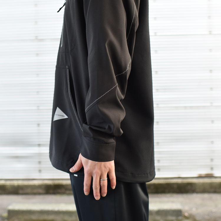 and wander(アンドワンダー)/ TECH L/S BAND COLLAR SHIRT テックロングスリーブバンドカラーシャツ/メンズ/レディース【2021春夏】