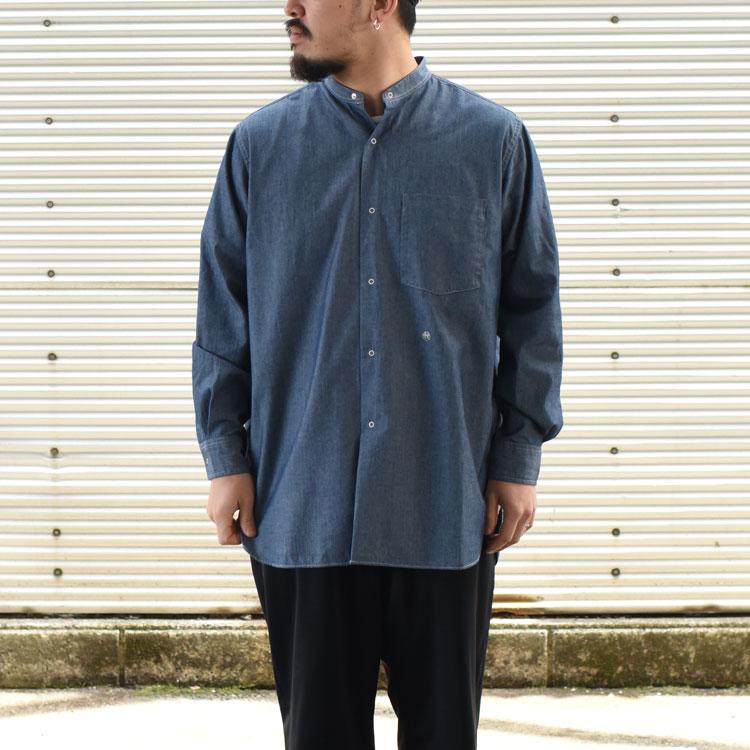 nanamica(ナナミカ)/BAND COLLAR WIDE SHIRT バンドカラーワイドシャツ【2021春夏】