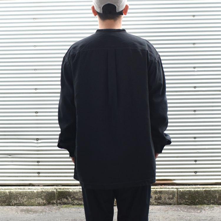 and wander(アンドワンダー)/DRY LINEN BAND COLLAR SHIRT ドライリネン バンドカラーシャツ/メンズ/レディース【2021春夏】