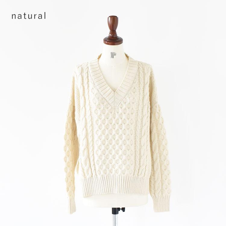 Oldderby Knitwear(オールドダービーニットウェア)/ケーブルVネックニット【2021秋冬】