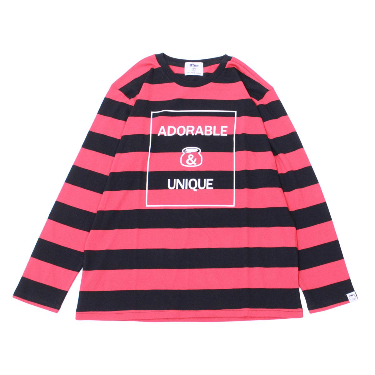 Adorable&Unique Border Long sleeve T (Black x Red)