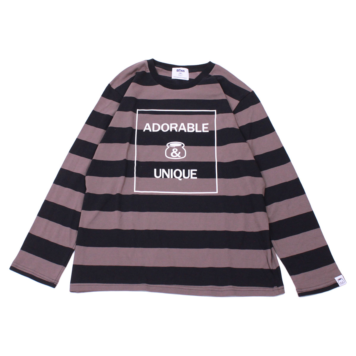 Adorable&Unique Border Long sleeve T (Black x Gray)