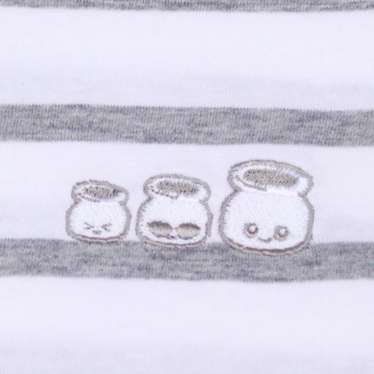 ボーダー 3B!nn 刺繍T(White x Gray)