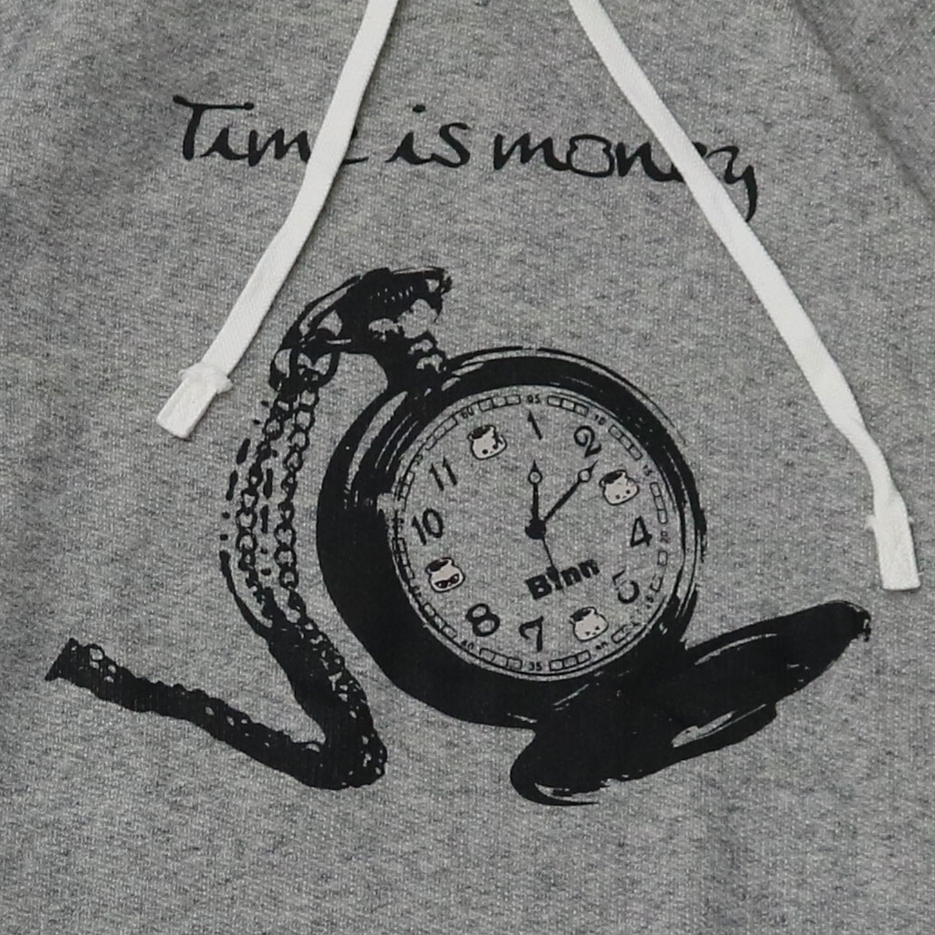 TIME IS MONEY Hoodie (Gray x Black)