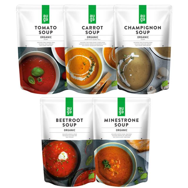 AUGAオーガニック野菜スープ400gx5種セット(トマト・キャロット・ミネストローネ・マッシュルーム・ビーツ)