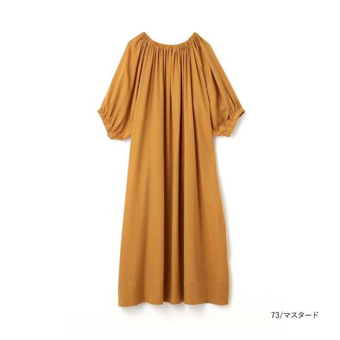 リヨセルギャバジンバルーンスリーブドレス