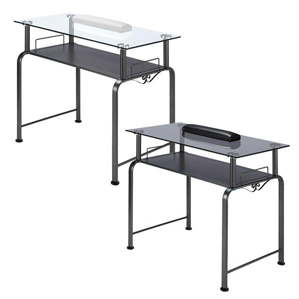 ネイルテーブル ベリー No.3 ガラス天板デスク マット付