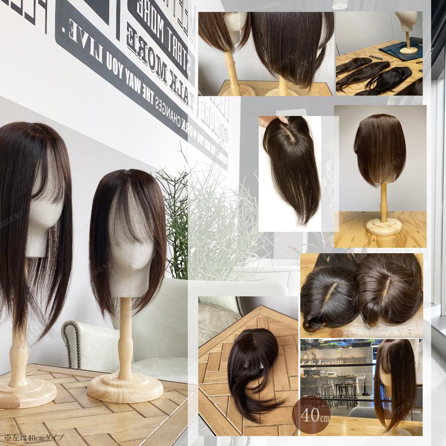日本仕上げ 高品質 ヘアピース 人毛 100% 細く柔らかい毛質 綺麗な髪 ウィッグ 25cm(24cm〜28cm) ミディアム BISHUKU