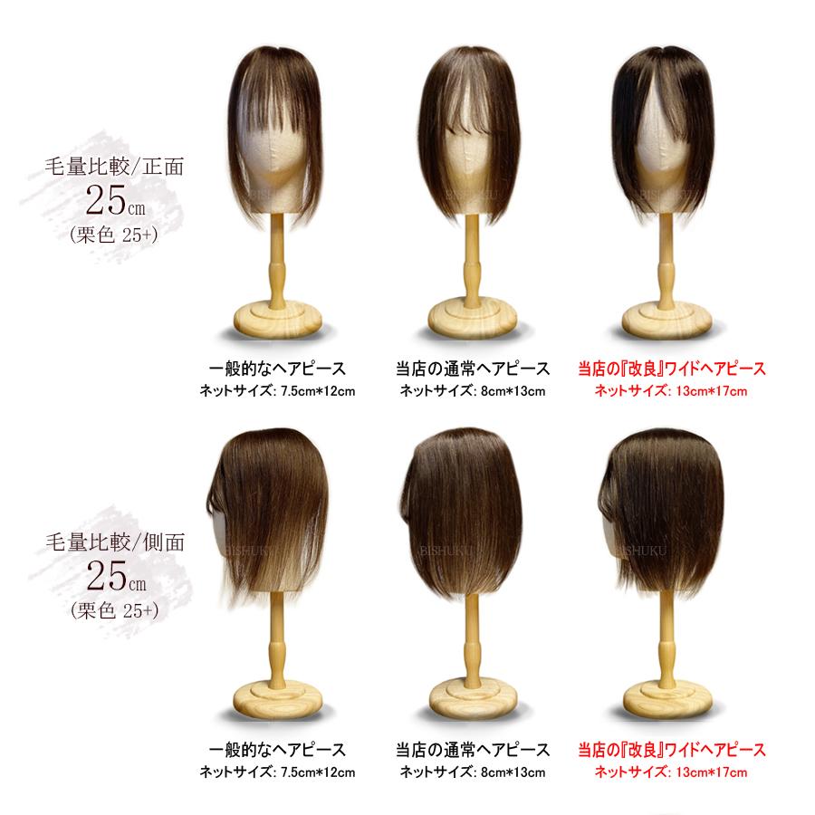 日本仕上げ 高品質 ワイドヘアピース 人毛 100% 増量 増毛 毛量アップ 25cm〜/30cm〜/40cm〜 ウィッグ BISHUKU