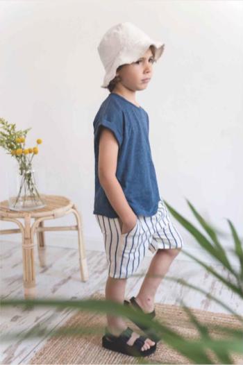 【SALE40%OFF】 MY LITTLE COZMO    BERMUDA SHORT-PROVENCE / IVORY STRIPE