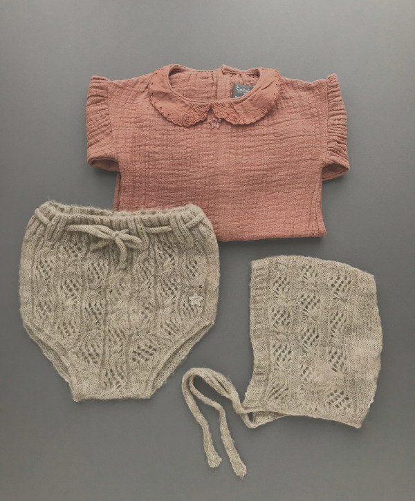 tocoto vintage     Body with embroidery details on collar / PINK