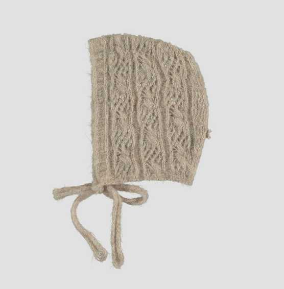 【SALE30%OFF】tocoto vintage    Open-work ribbed knit bonnet /BEIGE